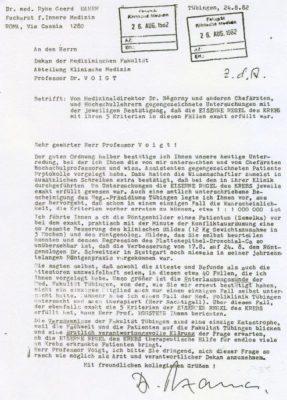 19820824 hamer an unituebingen gegengezeichneteuntersuchung