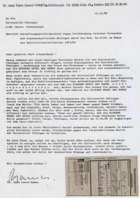 19881219 hamer an unituebingen vortaeuschungfalschertatsachen