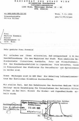 19951107 akh an kurier keineerlaubniserteilt