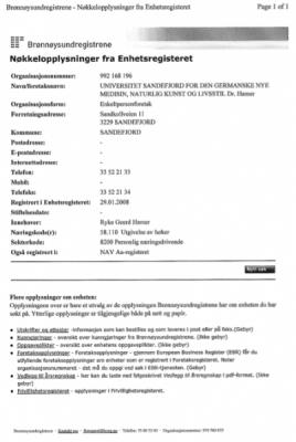 20080129 unisandefjord registrierung