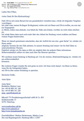 20150826 ZDF an Pilhar Einladung